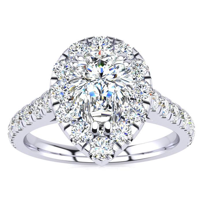 1 Carat Pear Shape Halo Diamond Engagement Ring in 14k White Gold