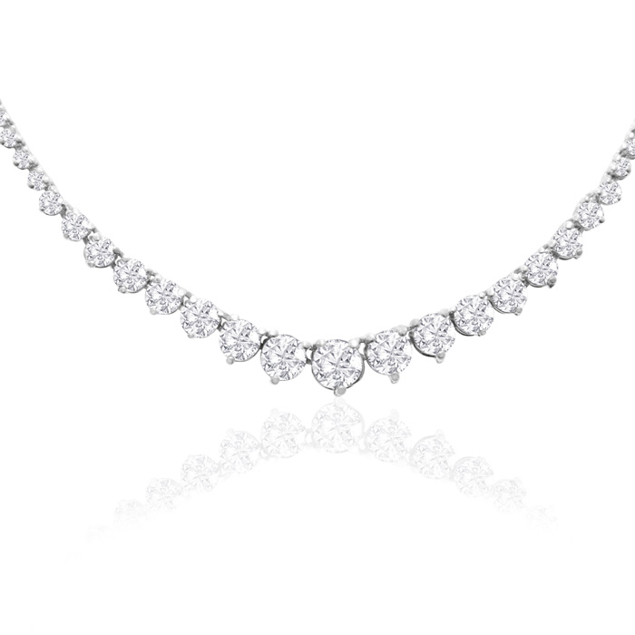 Graduated 10 Carat Diamond Tennis Necklace in 14K White Gold (19