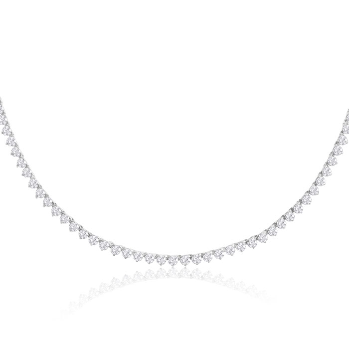 12 Carat Diamond Tennis Necklace in 14K White Gold (15.5 g), I/J,