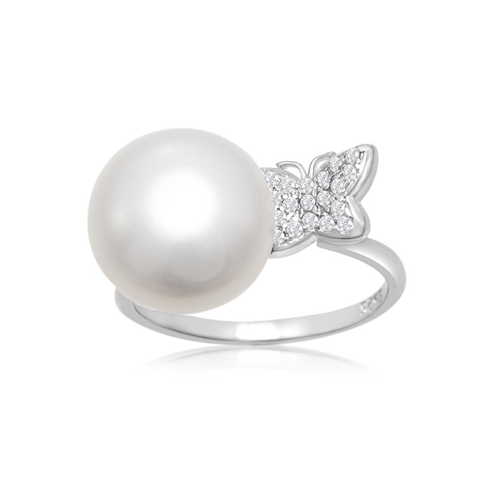 12MM Freshwater Cultured Single Pearl & Embellished Butterfly Rin