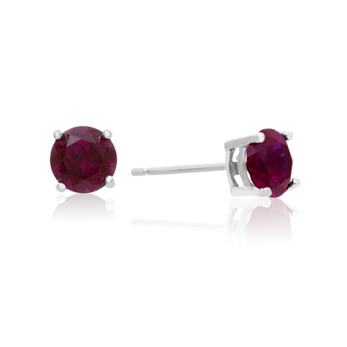 2 Carat Round Ruby Stud Earrings in Sterling Silver by SuperJeweler