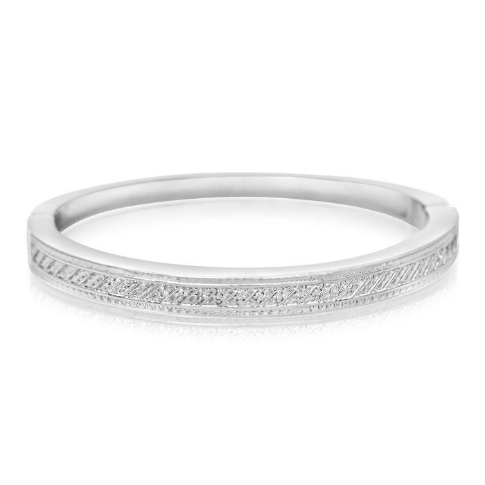 Important 10 Diamond Bangle Bracelet In Platinum Overlay
