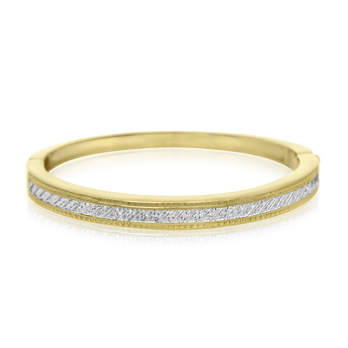 Important Diamond Bangle Bracelet In Gold Overlay (1/20cttw)