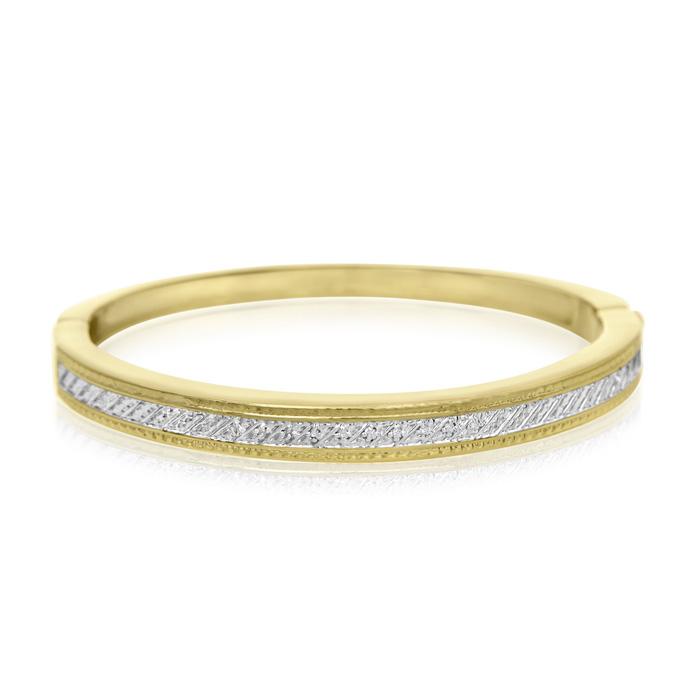 10 Diamond Accent Bangle Bracelet In Gold