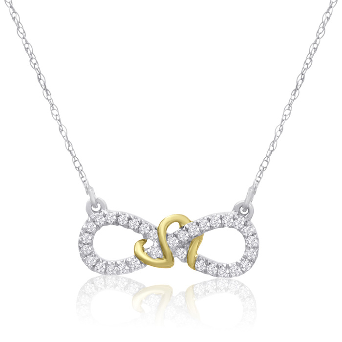 0.15 Carat Diamond Infinity Necklace in Two Tone Gold, J/K, 18 In