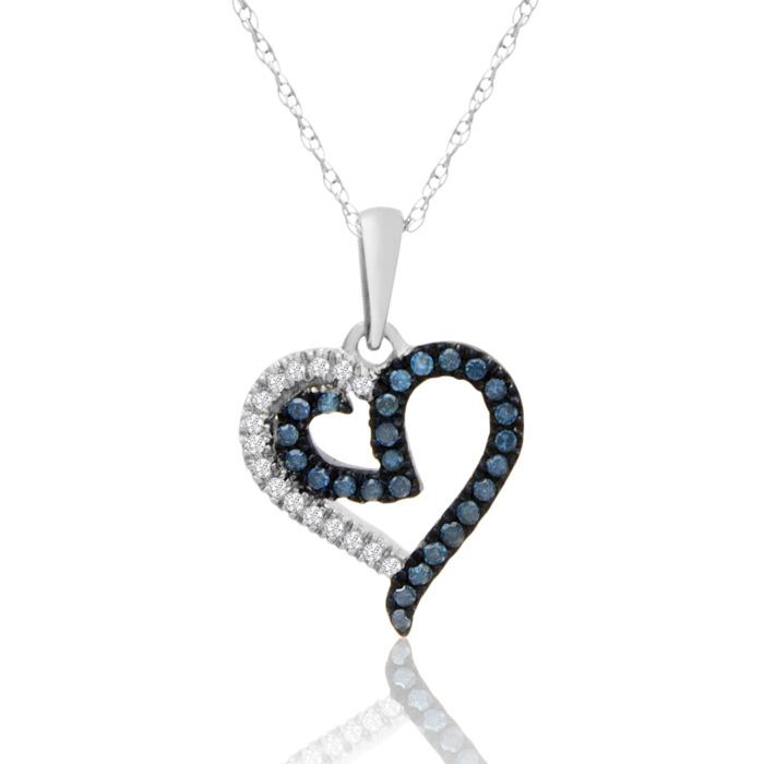 0.15 Carat Blue & White Diamond Heart Necklace in White Gold, J/K