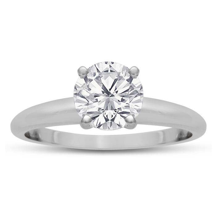 1ct Round Diamond Solitaire in 14k White Gold, Clarity Enhanced   6 PRONG SE..