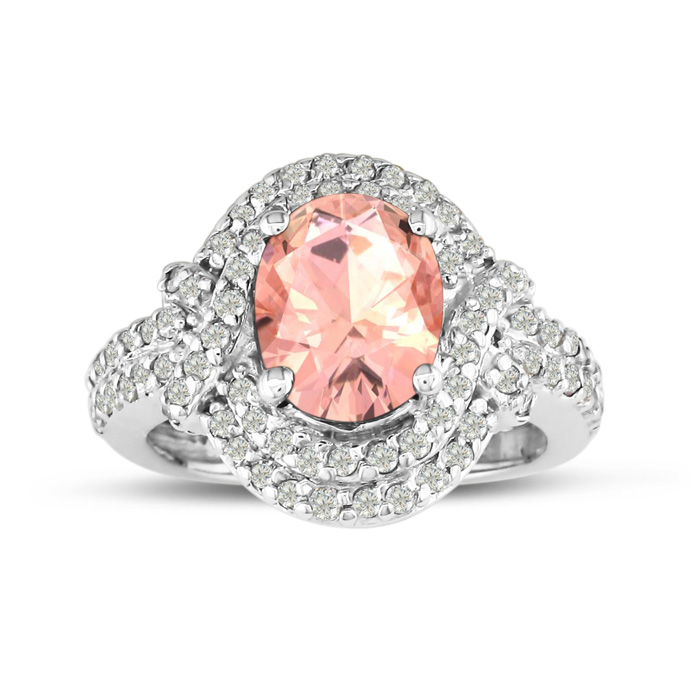 MasterCrafted 3 Carat Morganite & Diamond Ring in 14K White Gold (7.7 g), I/J by SuperJeweler