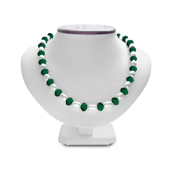 Fine Dark Green Crystal & Giant Seed Pearl Necklace, 19 Inch Chai