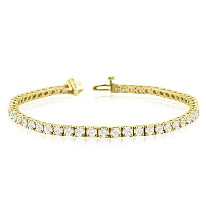 Image of 7.5 Inch 14K Yellow Gold 8 2/3 Carat TDW Round Diamond Tennis Bracelet (J-K, I2-I3)
