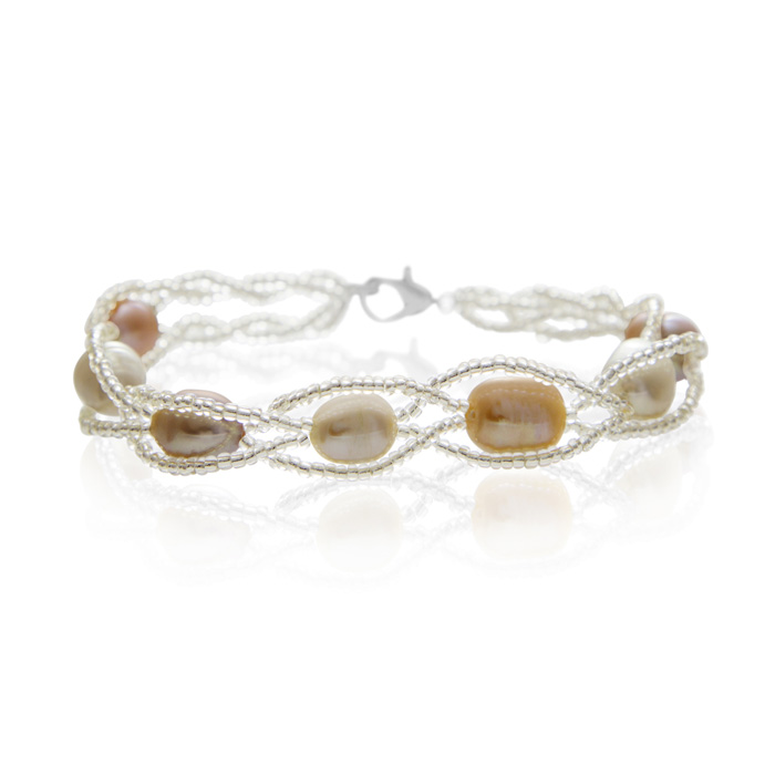 8mm Freshwater Cultured Pearl & Braided Bead Bracelet, 7 Inch in