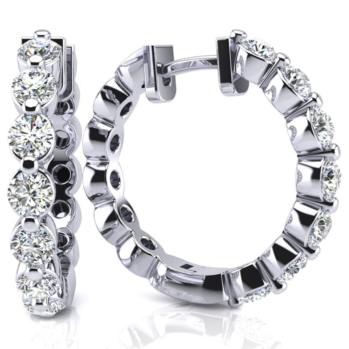3/4 Carat Diamond Hoop Earrings in 14K White Gold, H/I by SuperJe