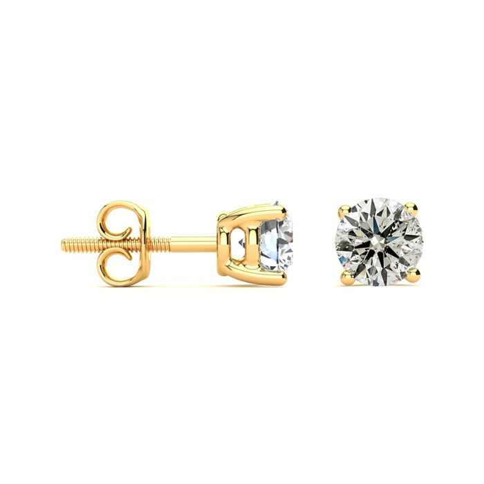 1.5 Carat Diamond Stud Earrings in 14K Yellow Gold, J/K by SuperJ
