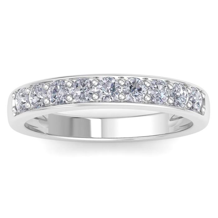 1/2 Carat Prong Set Diamond Wedding Band in 14k White Gold, 9 Dia