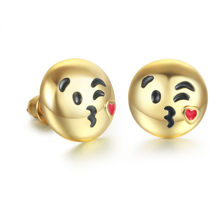 Blow A Kiss Emoji Earrings by SuperJeweler