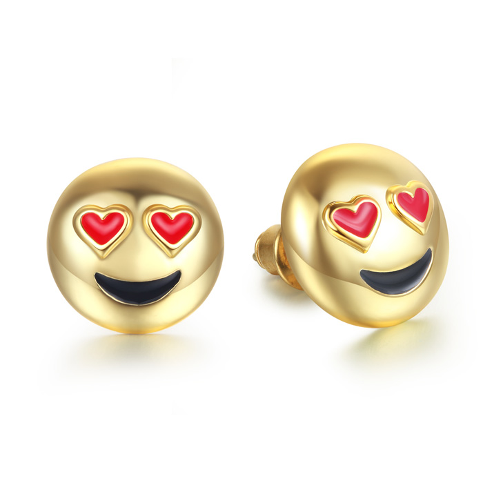 Smiling Face Eye Love You Emoji Earrings by SuperJeweler