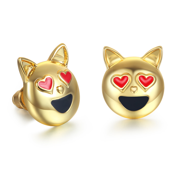 Purrfect Smiling Cat w/ Heart Eyes Emoji Earrings by SuperJeweler