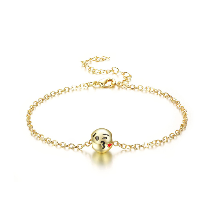 Blow A Kiss Emoji Anklet, 9 Inches by SuperJeweler