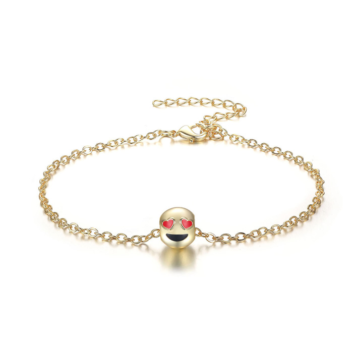 Smiling Face Eye Love You Emoji Anklet, 9 Inches by SuperJeweler