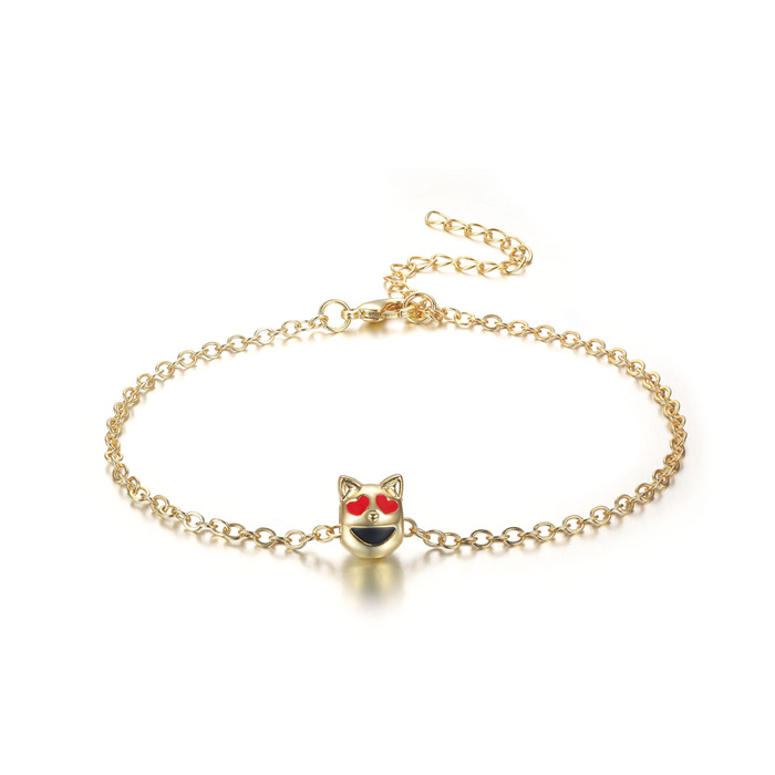 Purrfect Smiling Cat w/ Heart Eyes Emoji Anklet, 9 Inches by SuperJeweler