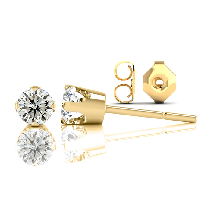 Nearly 1/2 Carat Diamond Stud Earrings in 14k Yellow Gold (1.2 Gr