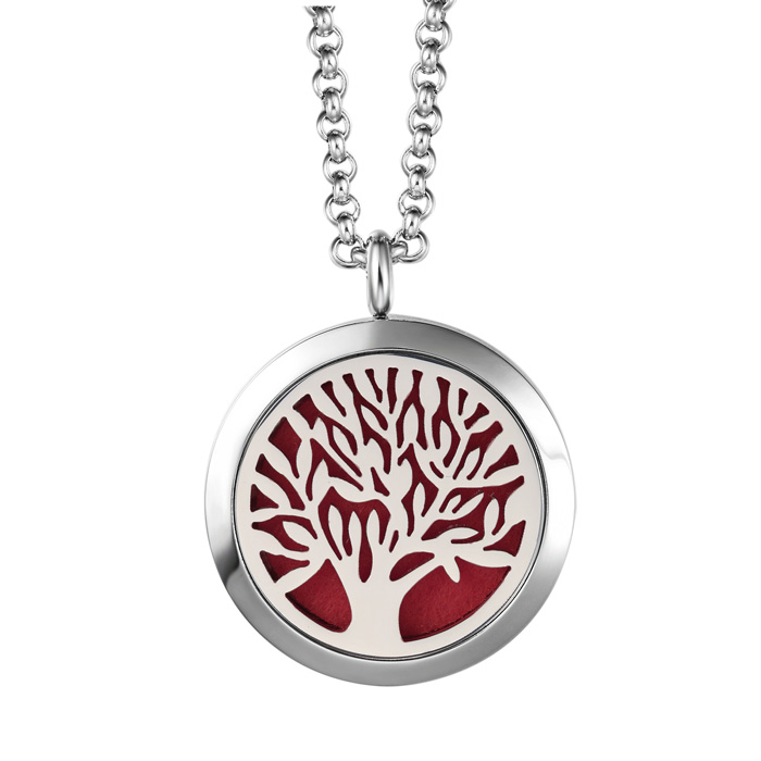 Image of Hypoallergenic Tree Of Life Aromatherapy Essential Oils Diffuser Necklace, Pure Stainless Steel Craftsmanship