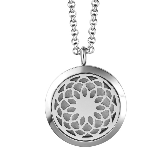 Image of Hypoallergenic Flower Aromatherapy Essential Oils Diffuser Necklace, Pure Stainless Steel Craftsmanship