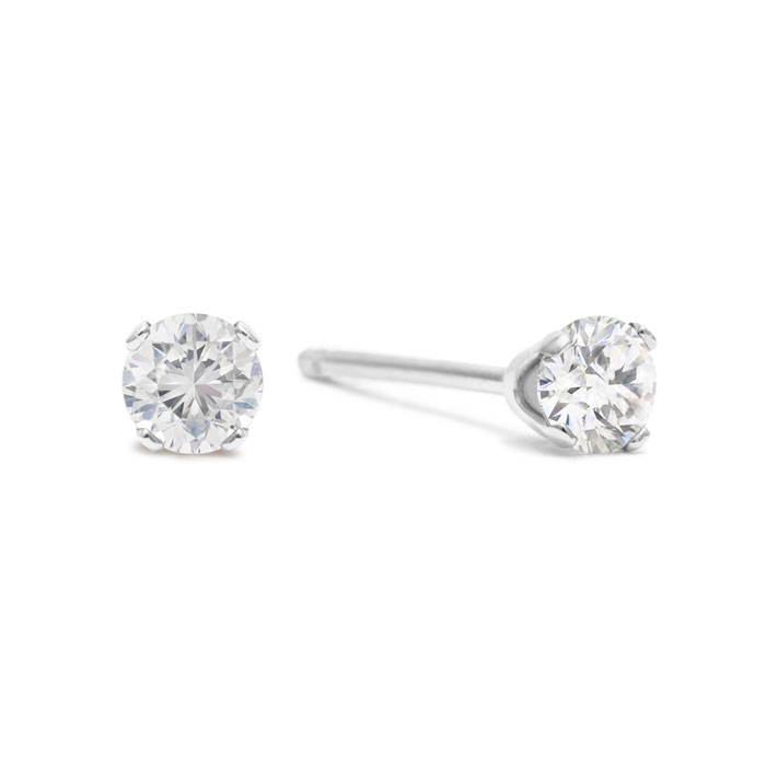 5 Point Tiny Diamond Stud Earrings in Solid Silver, G/H by SuperJ