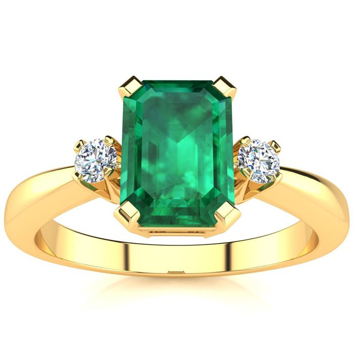 2.50ct Emerald Cut Emerald and Diamond Ring Crafted In Solid 14K Yellow Gold