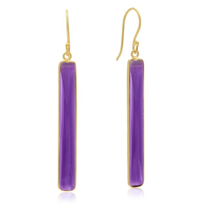 20 Carat Amethyst Quartz Bar Earrings in 14K Yellow Gold Over Ste