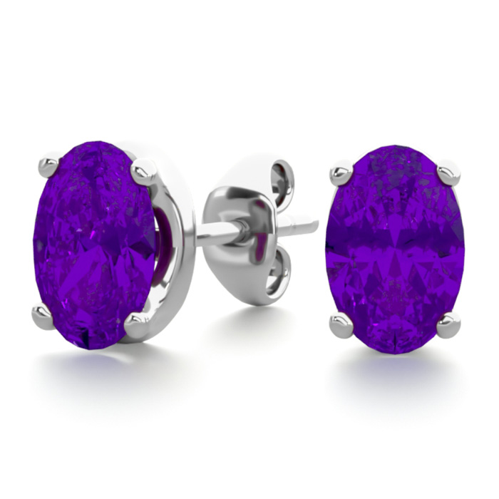 1 Carat Oval Shape Amethyst Stud Earrings in Sterling Silver by S