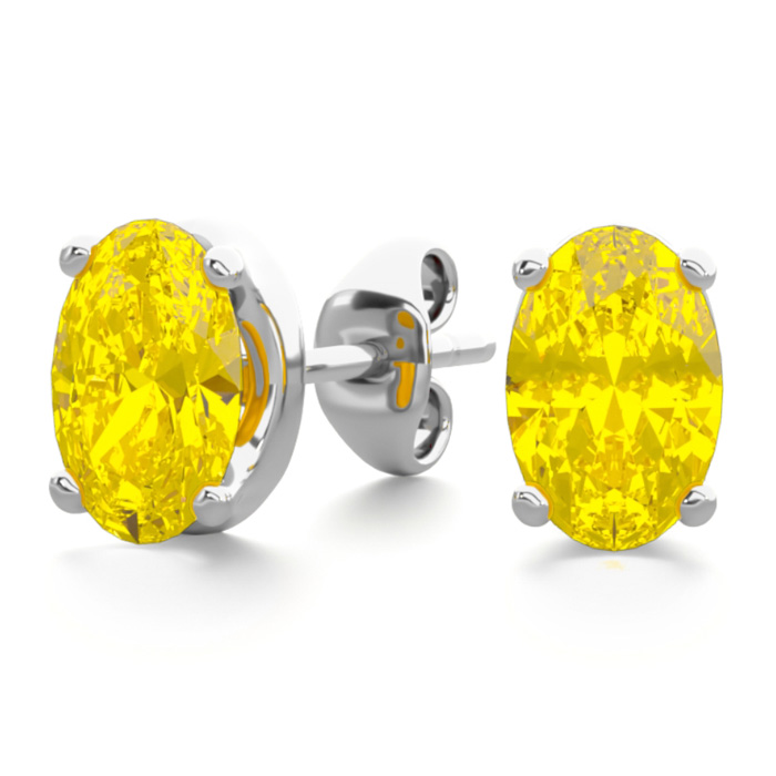 1 Carat Oval Shape Citrine Stud Earrings in Sterling Silver by Su