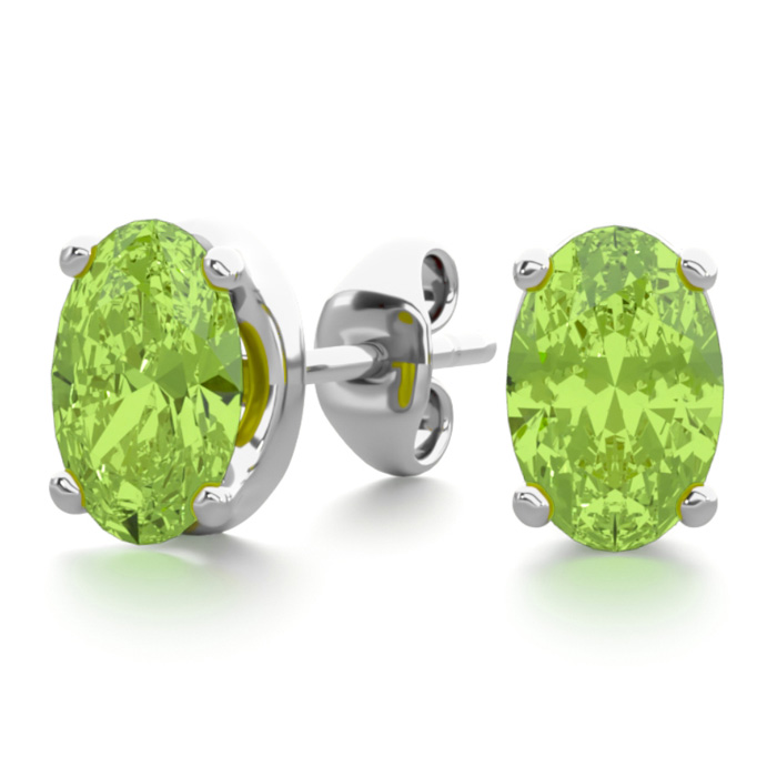 1 Carat Oval Shape Peridot Stud Earrings in Sterling Silver by SuperJeweler