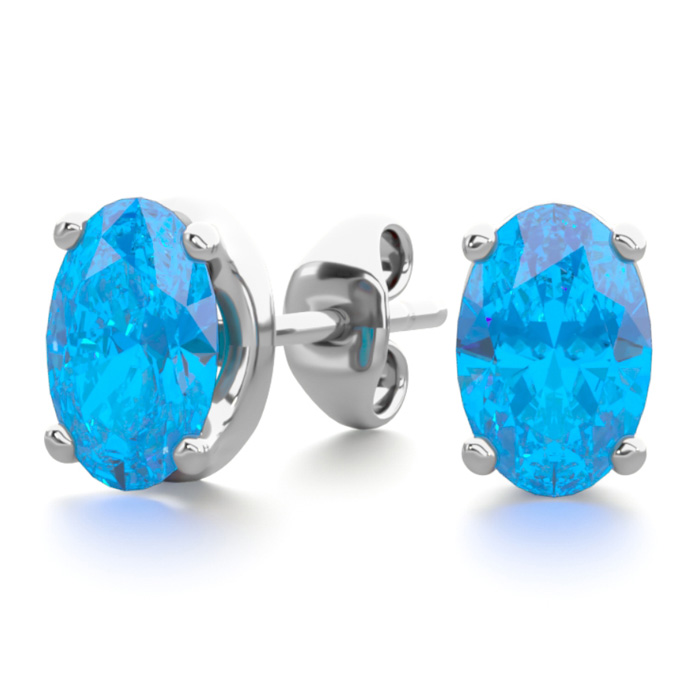 1 Carat Oval Shape Blue Topaz Stud Earrings in Sterling Silver by