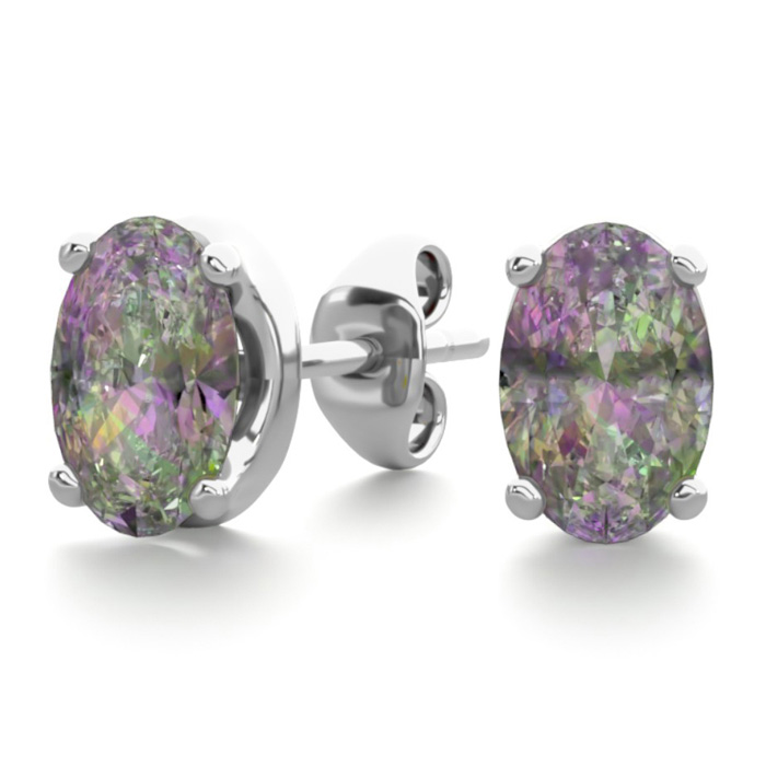 1 Carat Oval Shape Mystic Topaz Stud Earrings in Sterling Silver