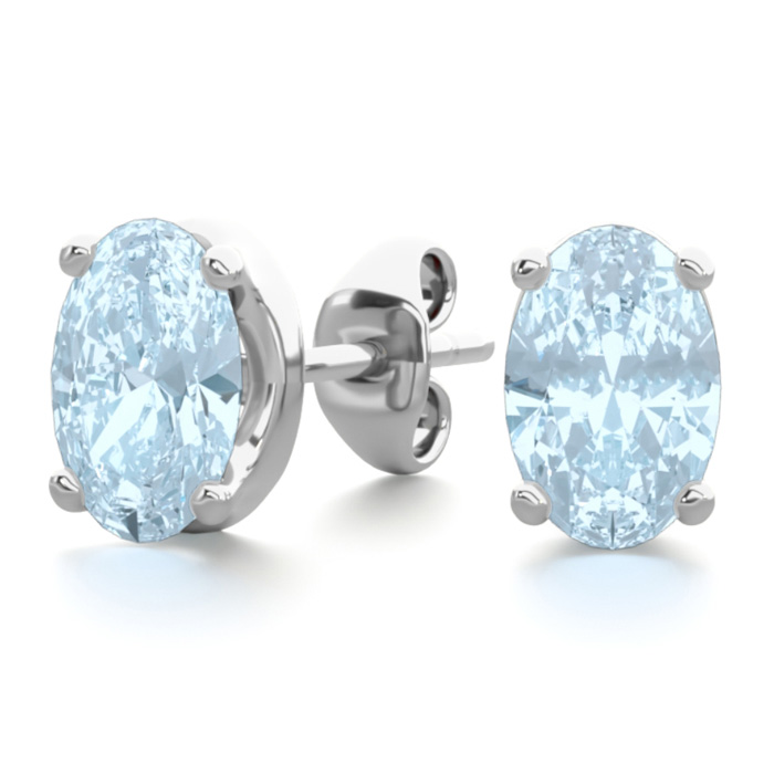 1 Carat Oval Shape Aquamarine Stud Earrings in Sterling Silver by