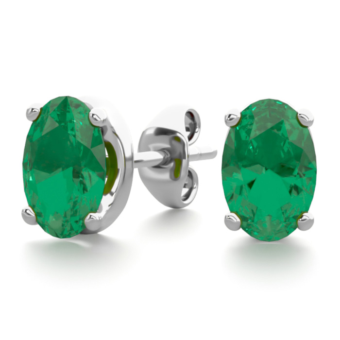 1 Carat Oval Shape Emerald Stud Earrings in Sterling Silver by Su