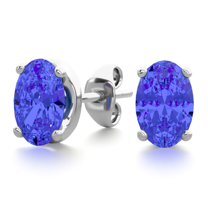 1 Carat Oval Shape Tanzanite Stud Earrings in Sterling Silver by