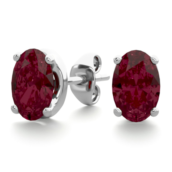 1 Carat Oval Shape Garnet Stud Earrings in Sterling Silver by SuperJeweler