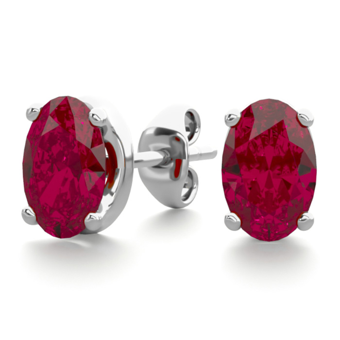 1 Carat Oval Shape Ruby Stud Earrings in Sterling Silver by Super