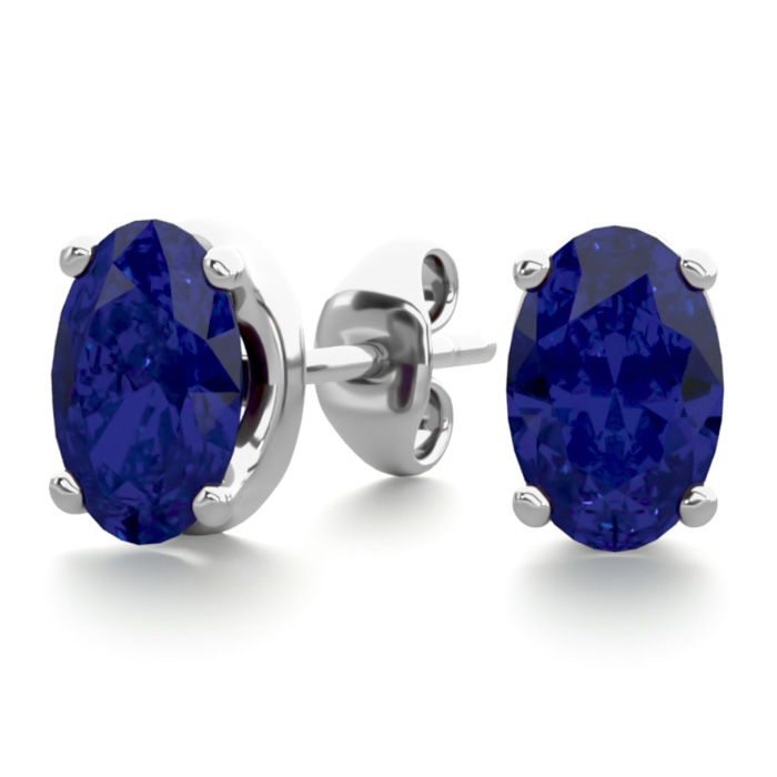1 Carat Oval Shape Sapphire Stud Earrings in Sterling Silver by S