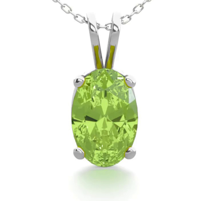 1/2 Carat Oval Shape Peridot Necklace in Sterling Silver, 18 Inch