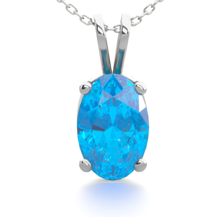 1/2 Carat Oval Shape Blue Topaz Necklace in Sterling Silver, 18 I