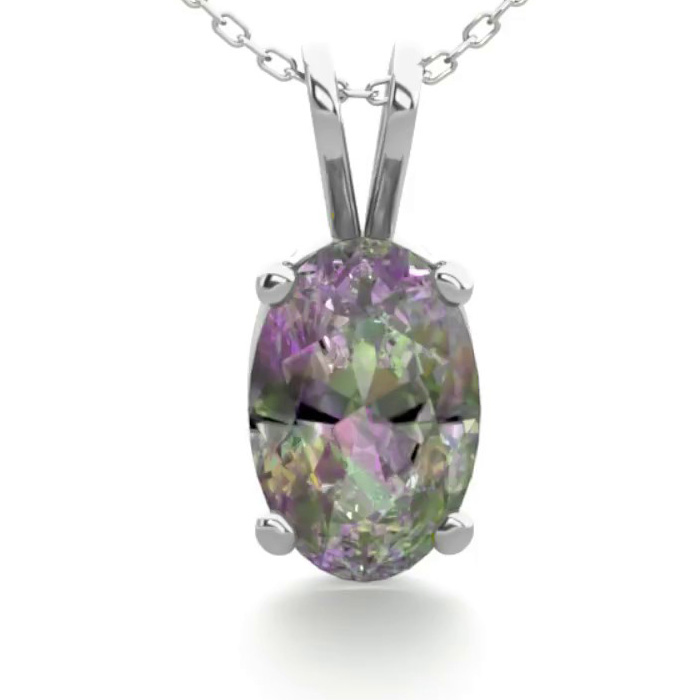 1/2 Carat Oval Shape Mystic Topaz Necklace in Sterling Silver, 18