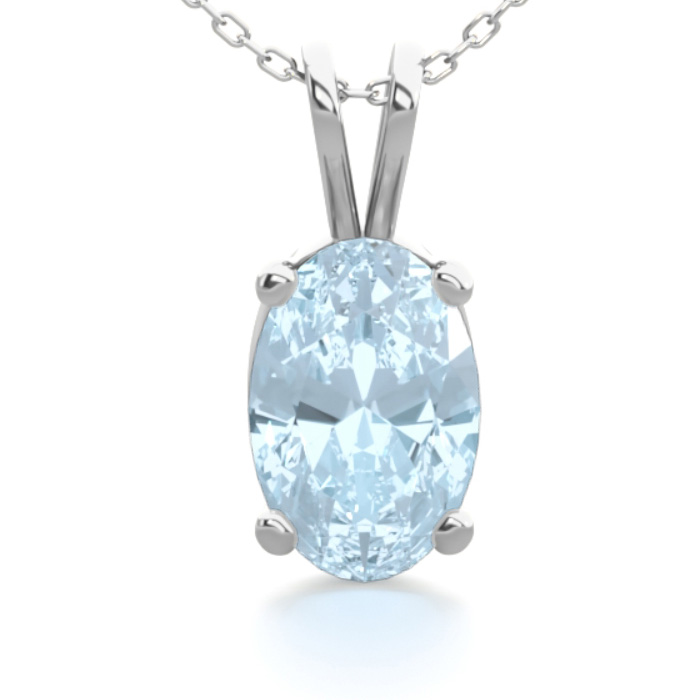 1/2 Carat Oval Shape Aquamarine Necklace in Sterling Silver, 18 I