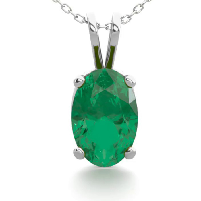1/2 Carat Oval Shape Emerald Necklace in Sterling Silver, 18 Inch