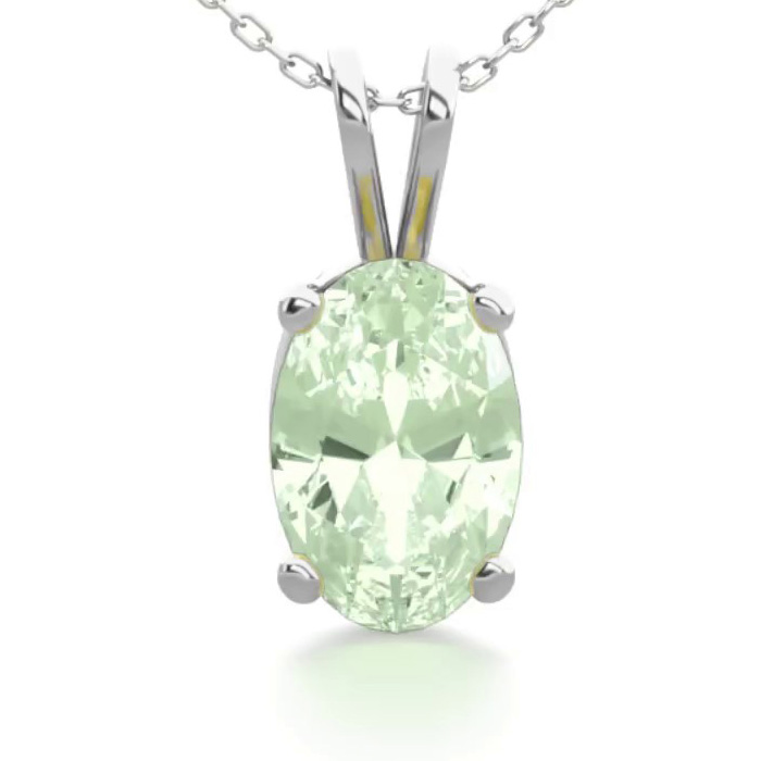 1/2 Carat Oval Shape Green Amethyst Necklace in Sterling Silver,