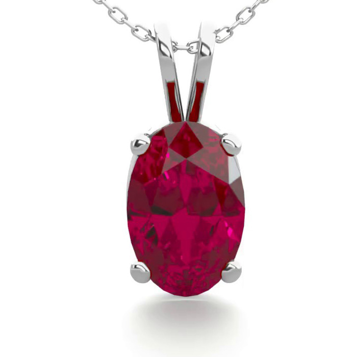 1/2 Carat Oval Ruby Necklace in Sterling Silver, 18 inches by Sup
