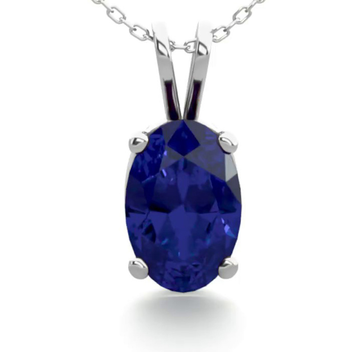 1/2 Carat Oval Shape Sapphire Necklace in Sterling Silver, 18 Inc
