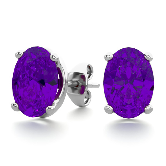 1.5 Carat Oval Shape Amethyst Stud Earrings in Sterling Silver by